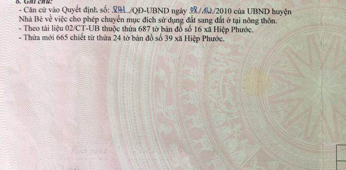 5×20 Mặt Tiền Liên Ấp 2-3 Hiệp Phước chỉ 1.25 Tỷ TL
